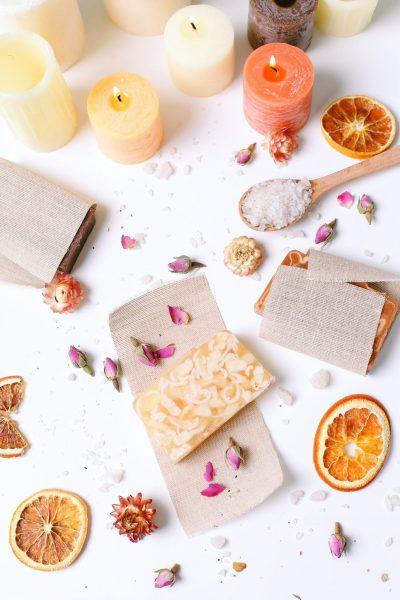 Spa. Handmade soap on the table