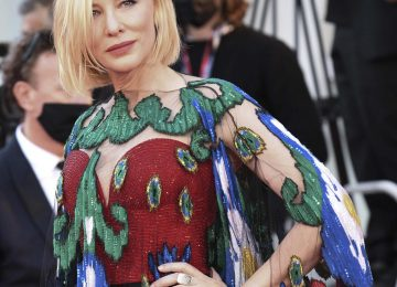 Actress Cate Blanchett walks along the red carpet during the closing ceremonies for the 77th Venice International Film Festival on Saturday, Sept. 12, 2020. (Piergiorgio Pirrone/LaPresse via AP)