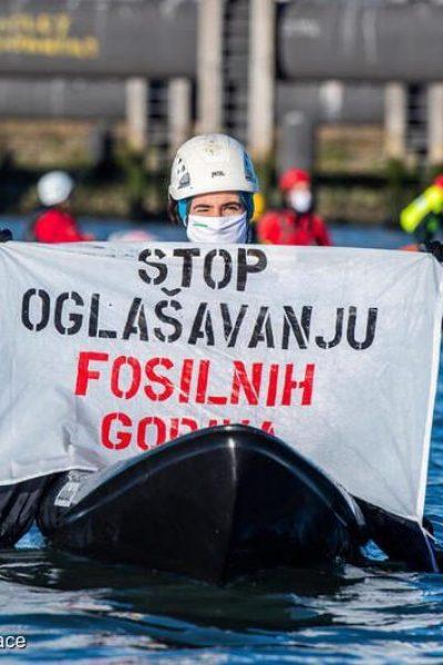 Greenpeace NL Blocks Oil Terminal and Launches Bid to Ban Fossil Fuel Ads in EuropeGreenpeace Nederland en activisten uit Europa blokkeren toegang tot de Tweede Petroleumhaven in Pernis