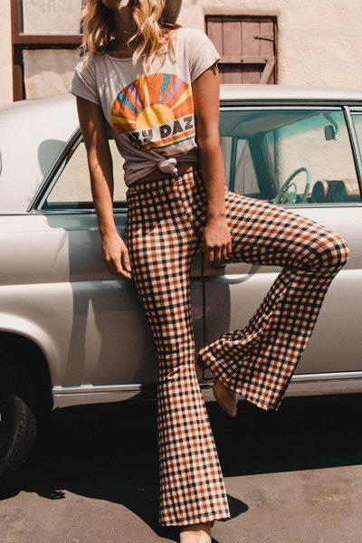 Vintage Plaid High Waist Long Flare Bell-Bottom Pants